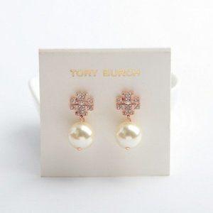 Tory Burch Crystal Logo &Pearl Drop Earrings